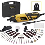 GINOUR Rotary Tool with MultiPro Keyless Chuck and Flex Shaft - 114pcs Accessories, 7 Variable Speeds, 4 Attachments…