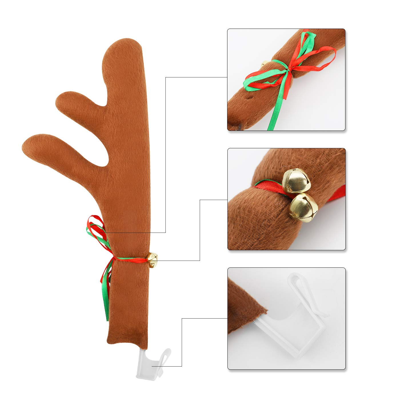 WAPIKE Reindeer Antler /& Nose Car Decoration Kit Christmas Reindeer Antler Car Costume Auto Accessories for Car Windows and Front Grille