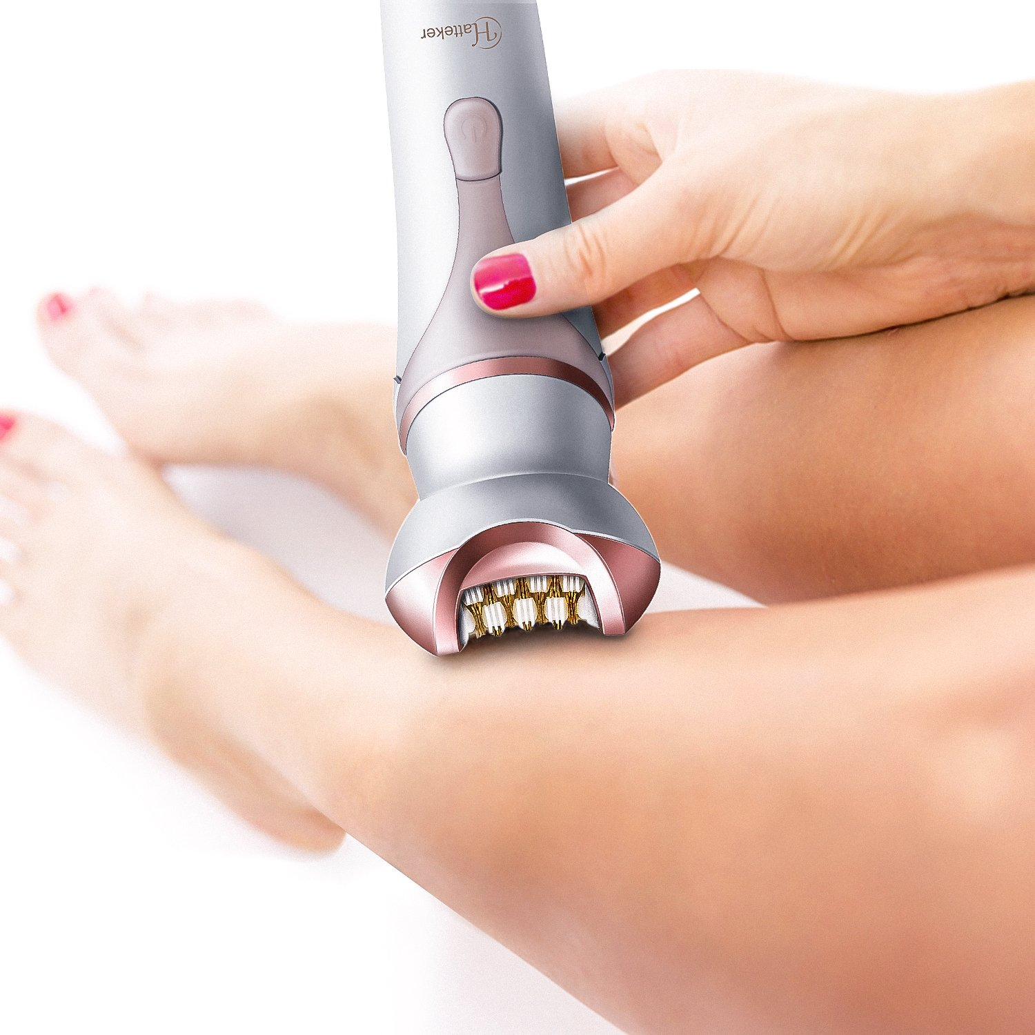 Hatteker Women's Hair Removal Cordless Rechargeable Ladies Electric Shaver Wet & Dry Hair Epilator for Legs Body Hair Bikini Trimmer with Facial Cleansing Brush Body Massager 4 in 1 Set by Hatteker (Image #6)