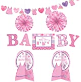 """Amscan Delightful Shower with Love Girl Room Decorating Kit Baby Shower Party Decorations (10 Piece), 14"""", Pink/White/Purple"""