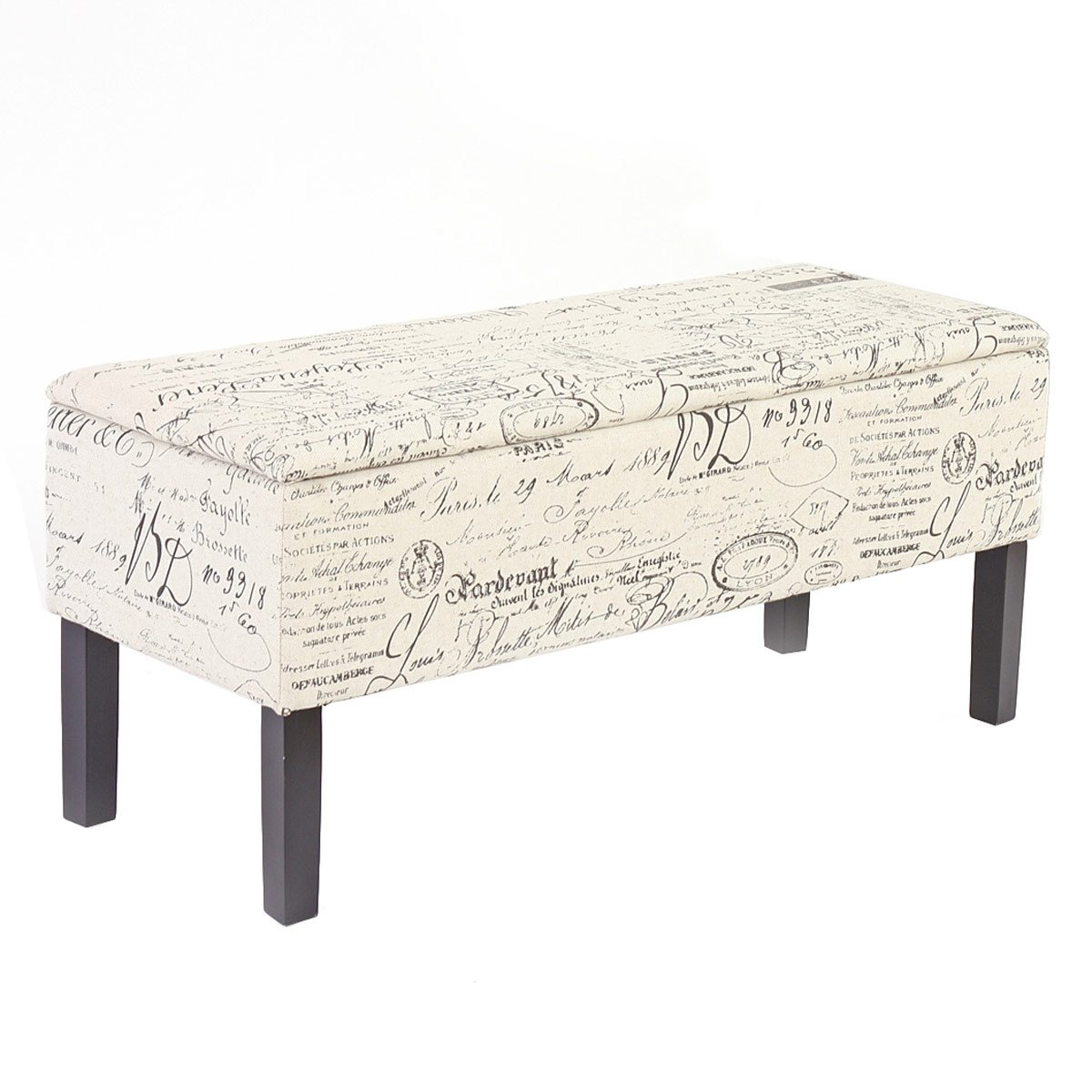 Mendler Panca contenitore Renens tessuto 36x95x44cm avorio con scritte