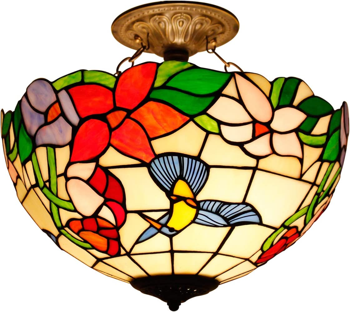 Tiffany Ceiling Fixture Lamp Semi Flush Mount 16 Inch Stained Glass Hummingbird Shade Pendant Hanging 2 Light Hanging Pendant Decorate Dinner Room Living Room Bedroom S101 WERFACTORY