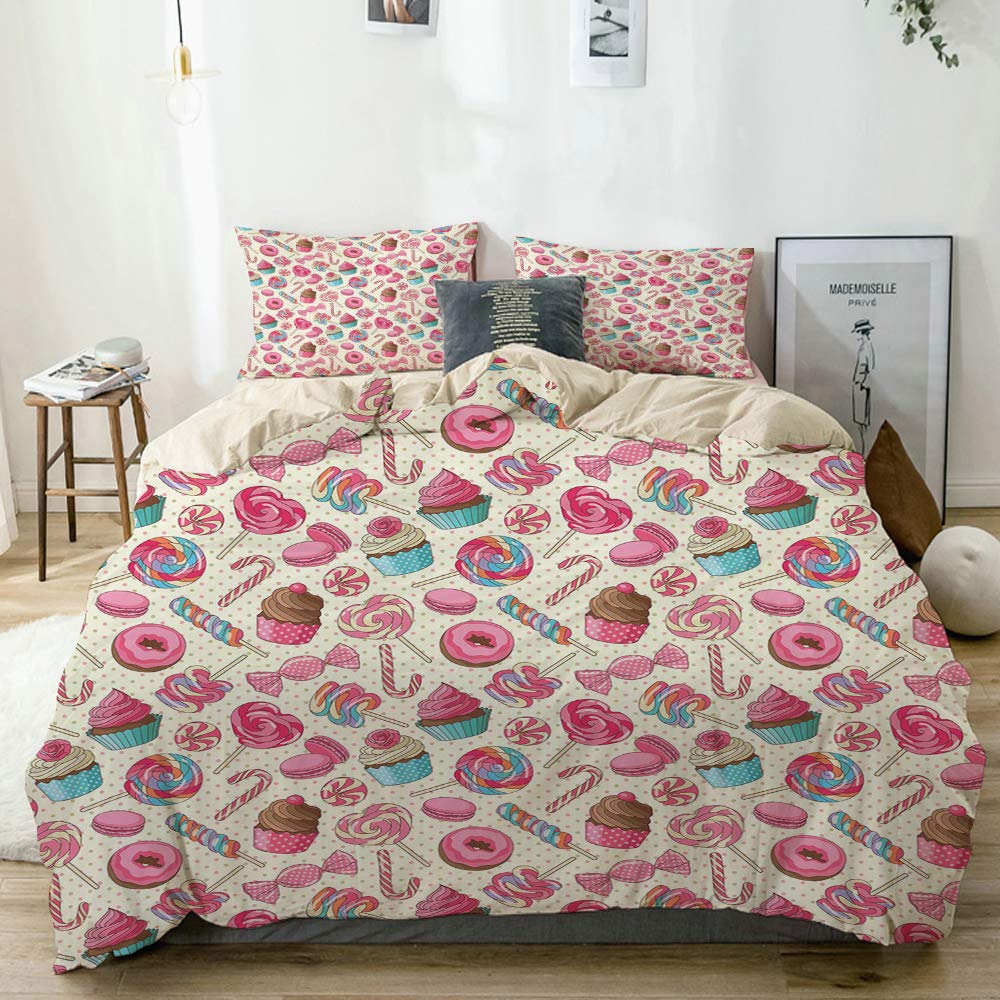 QINCO Duvet Cover Set Candy Cane Twin Yummy Sweet Lollipop Candy Macaroon Cupcake and Donut on Polka Dots Pattern Beige Decorative 3 Piece Bedding Set with 2 Pillow Shams Twin Size by QINCO