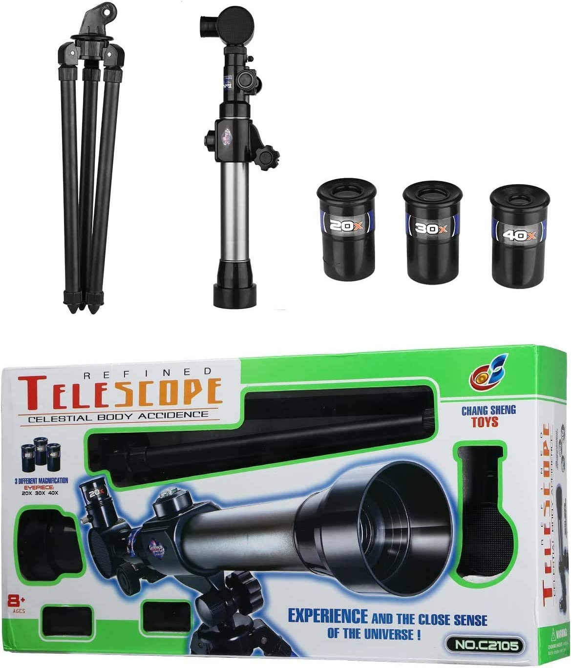 with Tripod Toy Set HONPHIER Kids Telescopes 20X-30X-40X Adustable Childrens Science Astronomical Telescope for Kids Beginners Astronomy Stargazing