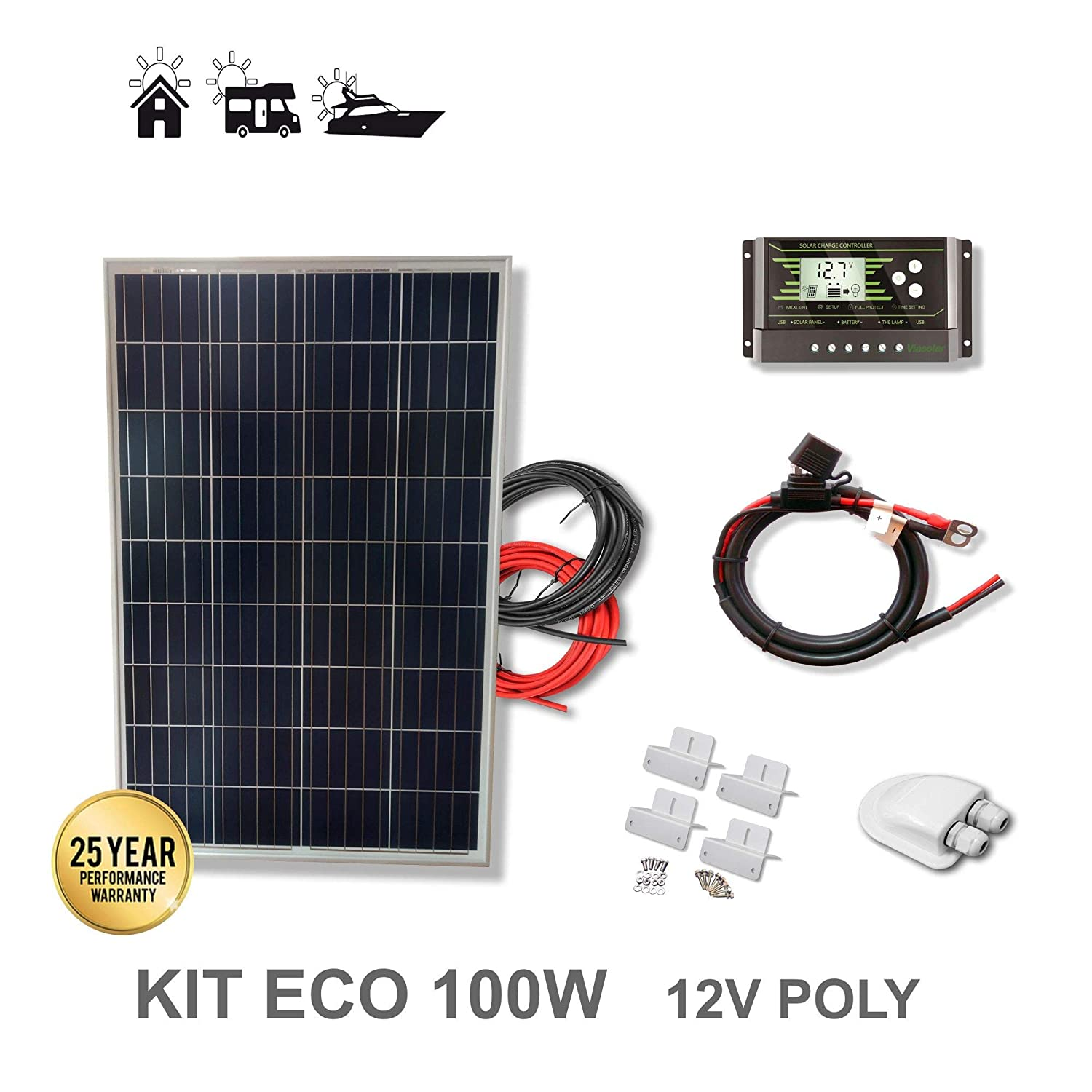 VIASOLAR Kit 100W Eco 12V Panel Solar