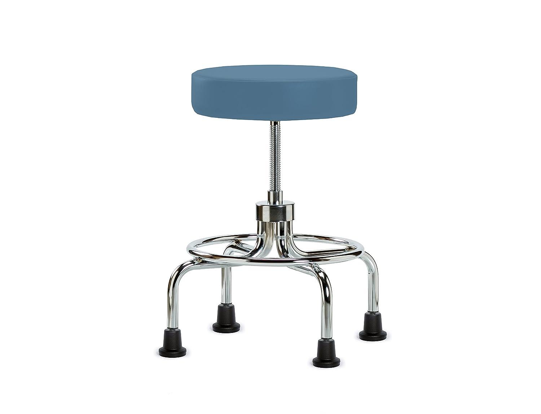 Perch Retro Exam Stool with Wheels Adjustable Height Medical Dental Office Workshop Garage 18.5-24 (Glides/Burgundy Fabric)