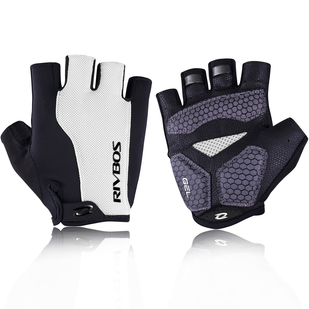 RIVBOS Bike Gloves Cycling Gloves Fingerless for Men Women with Foam Padding Breathable Mesh Fashion Design for Mountain Bicycle Riding Sports Outdoors Exercise CHG002(White L) by RIVBOS
