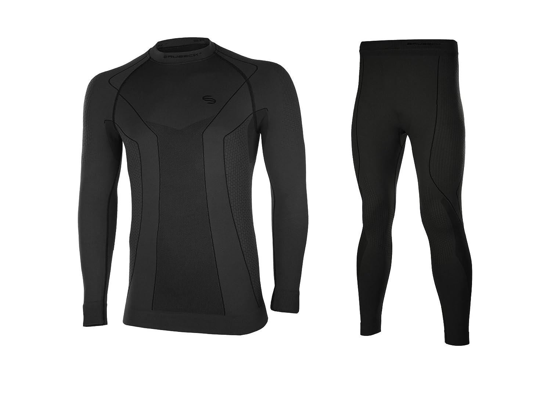 BRUBECK® THERMO Set Herren Lang: Shirt + Hose (Nahtlos Hochwertig Thermoaktiv Geruchshemmend Antibakteriell Antiallergisch Pflegeleicht)