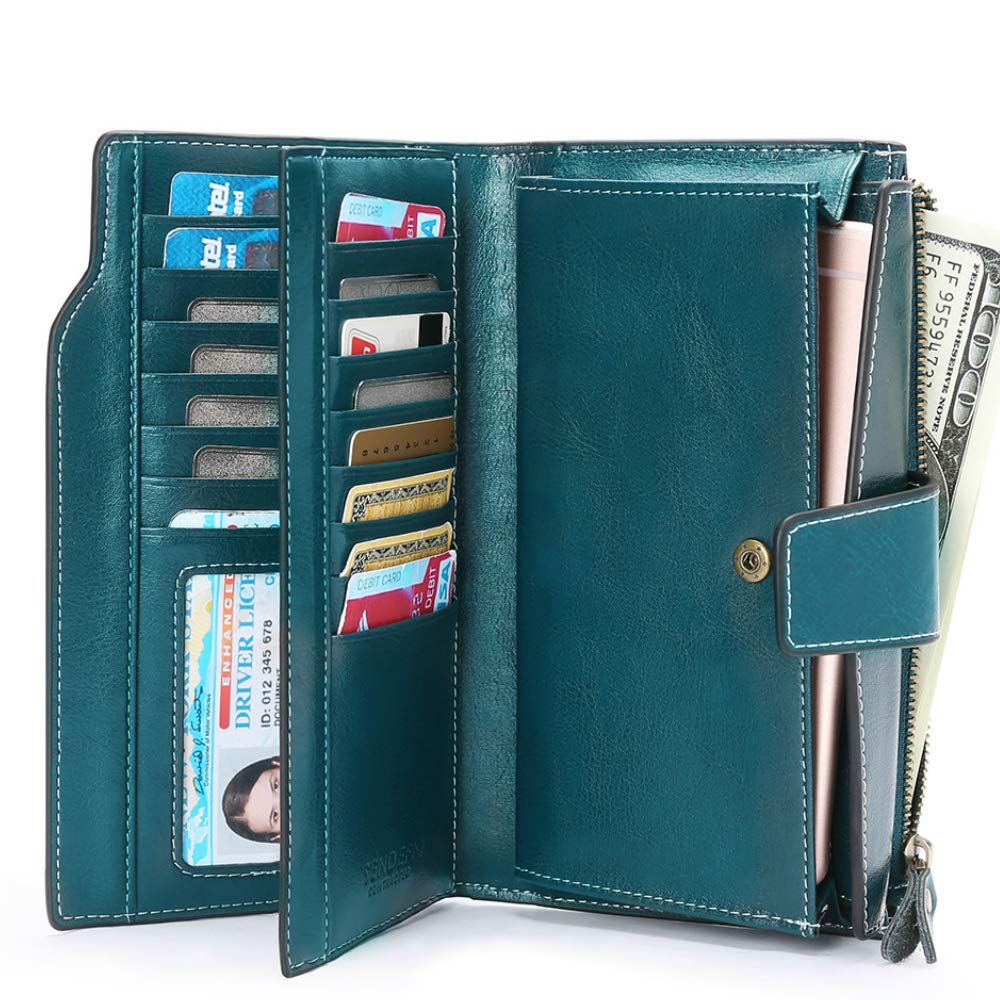 Women RFID-Blocking Wallets Large Capacity Leather Long Trifold Clutch Purse