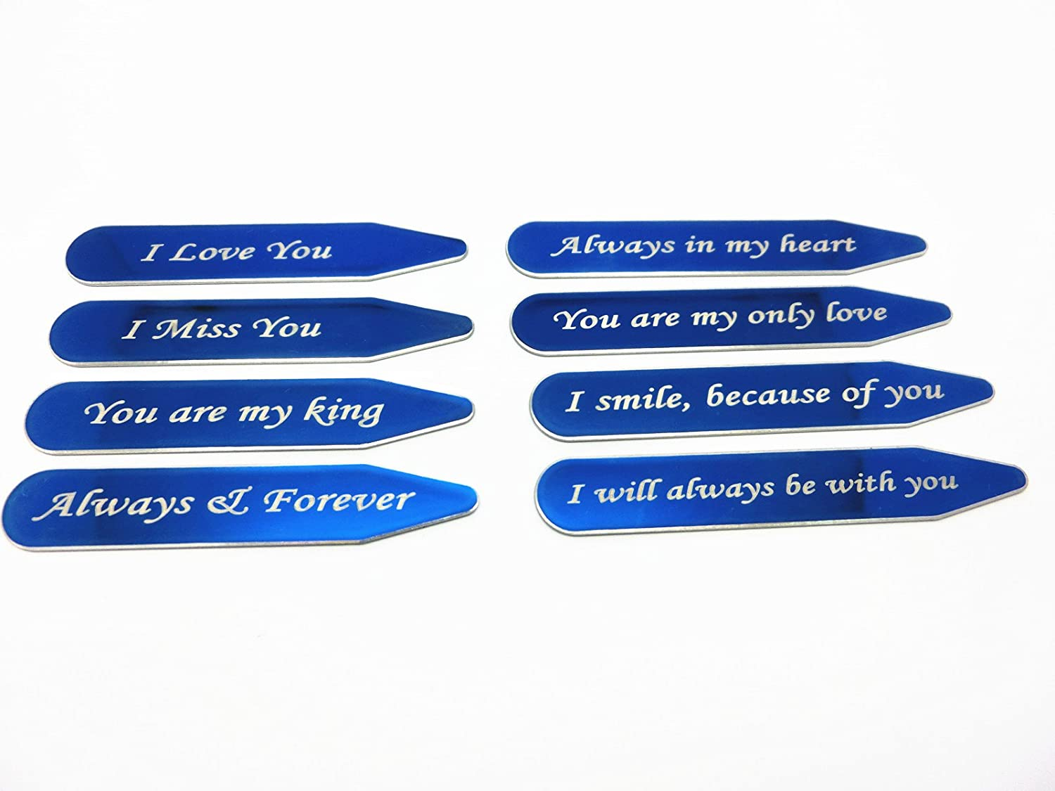 Shang Zun 8 Pcs Love Notes Stainless Steel Blue Collar Stays in Gift Box