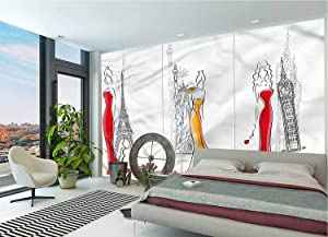 LCGGDB Girls Wallpaper Mural,Sketch Capital City Landmarks Peel & Stick Wallpaper for Office Nursery School Family Decor Playroom Birthday Gift -144x100 Inch