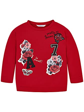 Mayoral 18-04462-082 - Pullover for Girls 8 Years Red