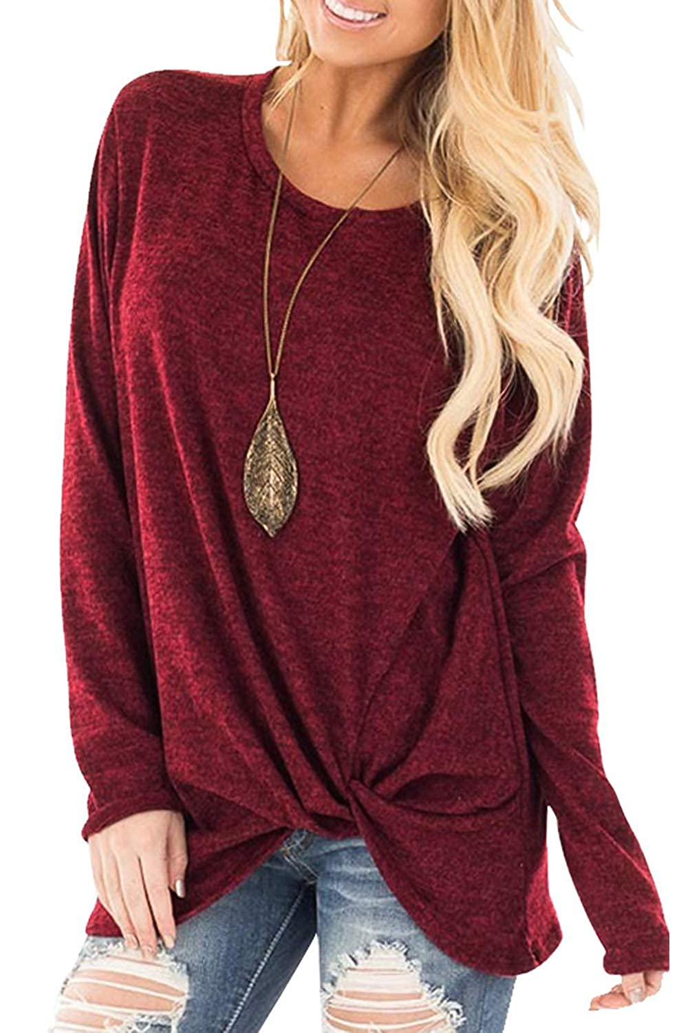 Mupoduvos Womens Tunic Tops Autumn Casual Long Sleeve Knotted T Shirt Top Tee