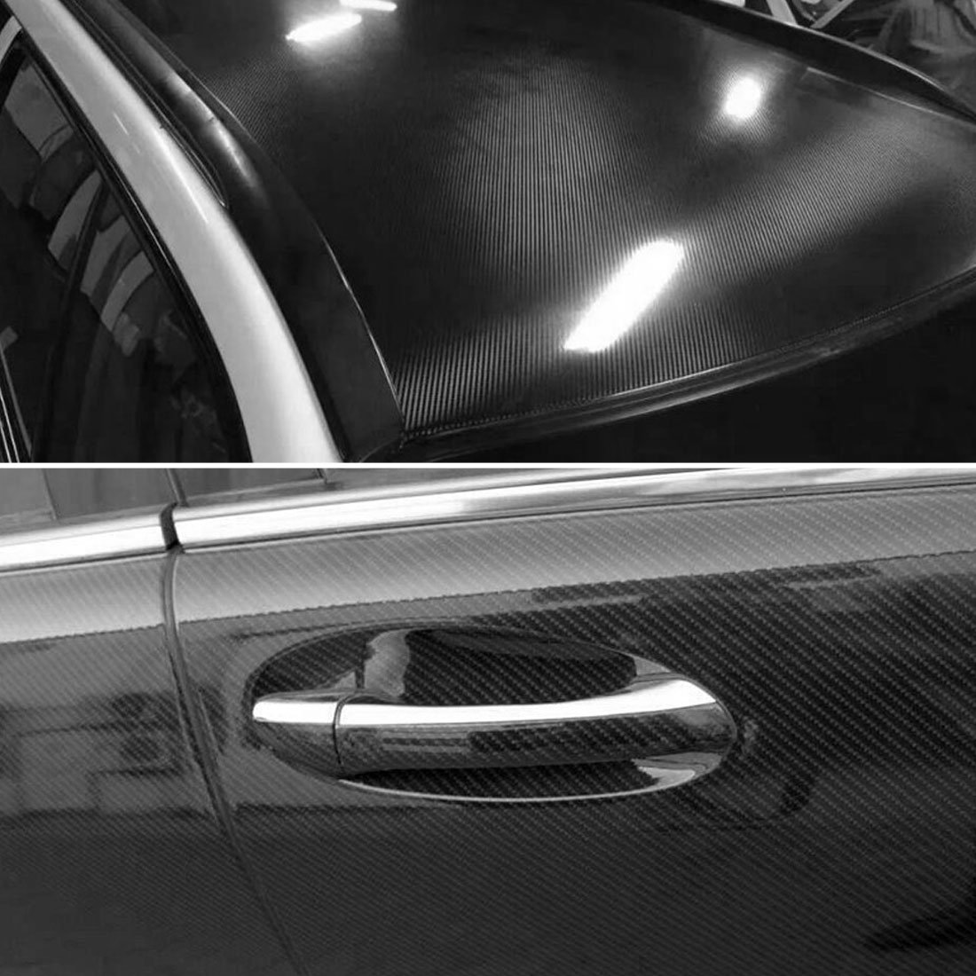 1 Pack 5D Carbon Fiber Bubble Free Stretchable Car Vinyl Film Sticker 152 x 30cm Black uxcell a18010800ux0209