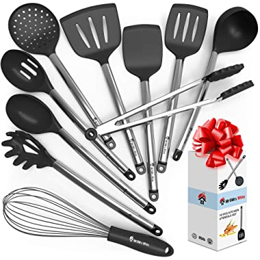 Kitchen Cooking Utensil Set - 10 Cooking Utensils - Nonstick Silicone Utensil and Stainless Steel Spatula Set - Best Kitchen Tools and Gadgets for Gift