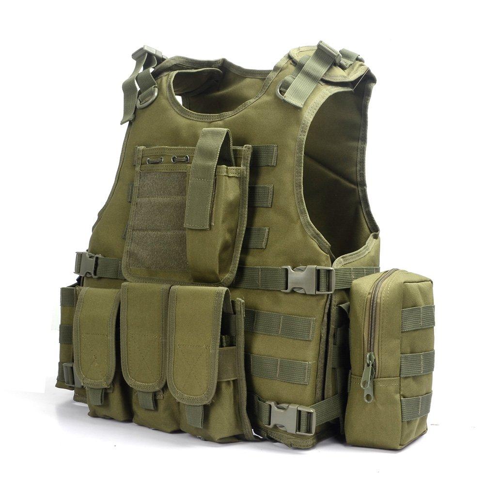 Camo Gilet Tactique, Veste Porte Plaque Ajustable pour Armée, Police, Equipement d'Extérieur ou Veste Cosplay du Jeu Counter Strike (Vert)