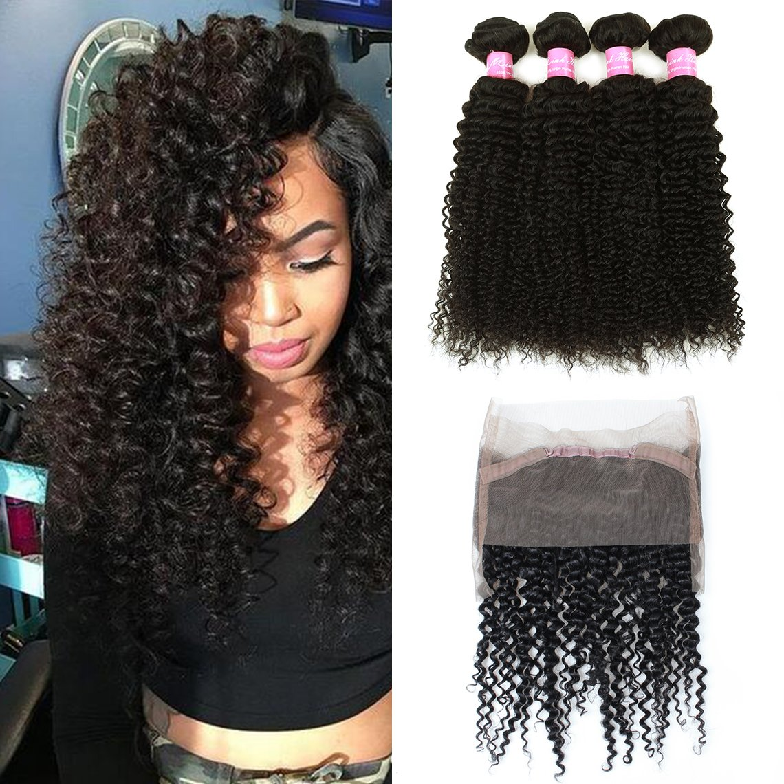 Mink Hair Brazilian Curly with 360 Frontal (16 18 20+14) 7A Grade Kinkys Curly Hair Bundles Virgin Human Hair Extensions with 360 Free Part Lace Frontal Closure Natural Color
