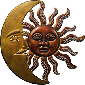 Benzara Gold and Rust Brown BM05394 Celestial Sun and Moon Wall Decor in Metal, Bronze