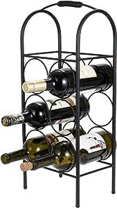 SOPRETY Metal Wine Rack Stand, 6 Bottles 3-Tier Wine Organizer Shelf for Living Room, Bedroom, Kitchen and Office, Black