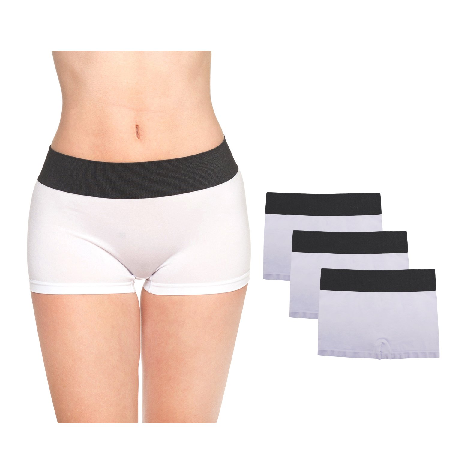LastFor1 Women Boxer Sport Underwear Comfort Utral Soft Warm Mid Rise Nylon Boyshorts Panties Briefs Plus Size Shorts 3 Pack