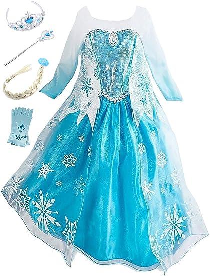 Beunique Robe Reine Des Neiges Enfant Costume Princesse Elsa Deguisements Filles Robe De Soiree Carnaval Halloween Amazon Fr Vetements Et Accessoires