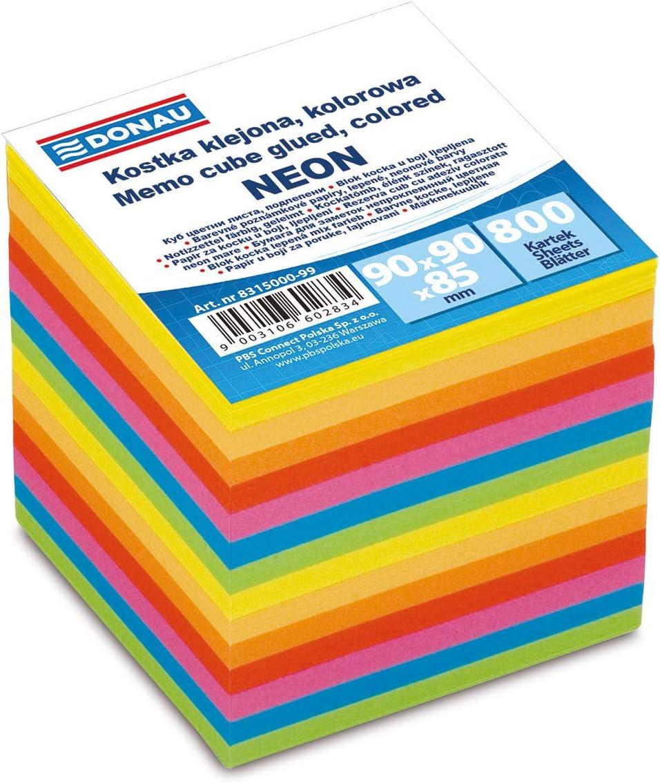 verschiedene Farben Neon 700 Bl/ätter DONAU 8315000-99 Zettelklotz//Haftnotizenklotz f/ür Zettelbox 90 x 90 x 90 mm