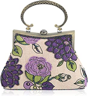 Kofun Sac Femme, Sac De Soirée pour Femme avec Broderie Embrayage Sac À Main Cocktail Party Lady Purse Violet Sac De Soirée pour Femme avec Broderie Embrayage Sac À Main Cocktail Party Lady Purse Violet model