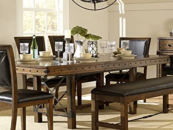 Rustic Turnbuckle Dining Room Furniture In Burnished Oak (Dining Table)