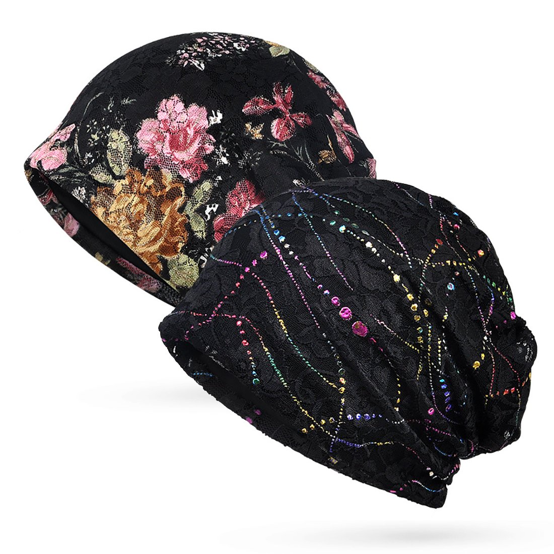 Trendeer Womens Floral Lace Beanie Slouchy Turban Hat Cancer Headwear Chemo Cap (One Size, Stretchable, Style 1-4 Black) by Trendeer