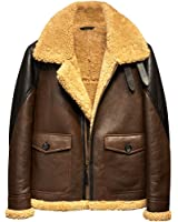 94a4f2c12ef Light Brown B3 Men s Shearling Leather Jacket Original Flying Jacket Men s  Fur Coat Pilots Coat