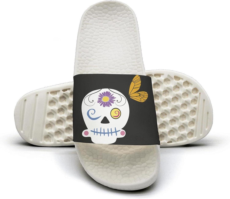 PPLLMMA Skull Cartoon Vector Image Mens Shower Athletic Slides Sandal Slippers Flip Flops