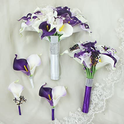 Amazon lily garden real touch calla lily purple and white lily garden real touch calla lily purple and white flowers wedding bouquet set of 5 mightylinksfo