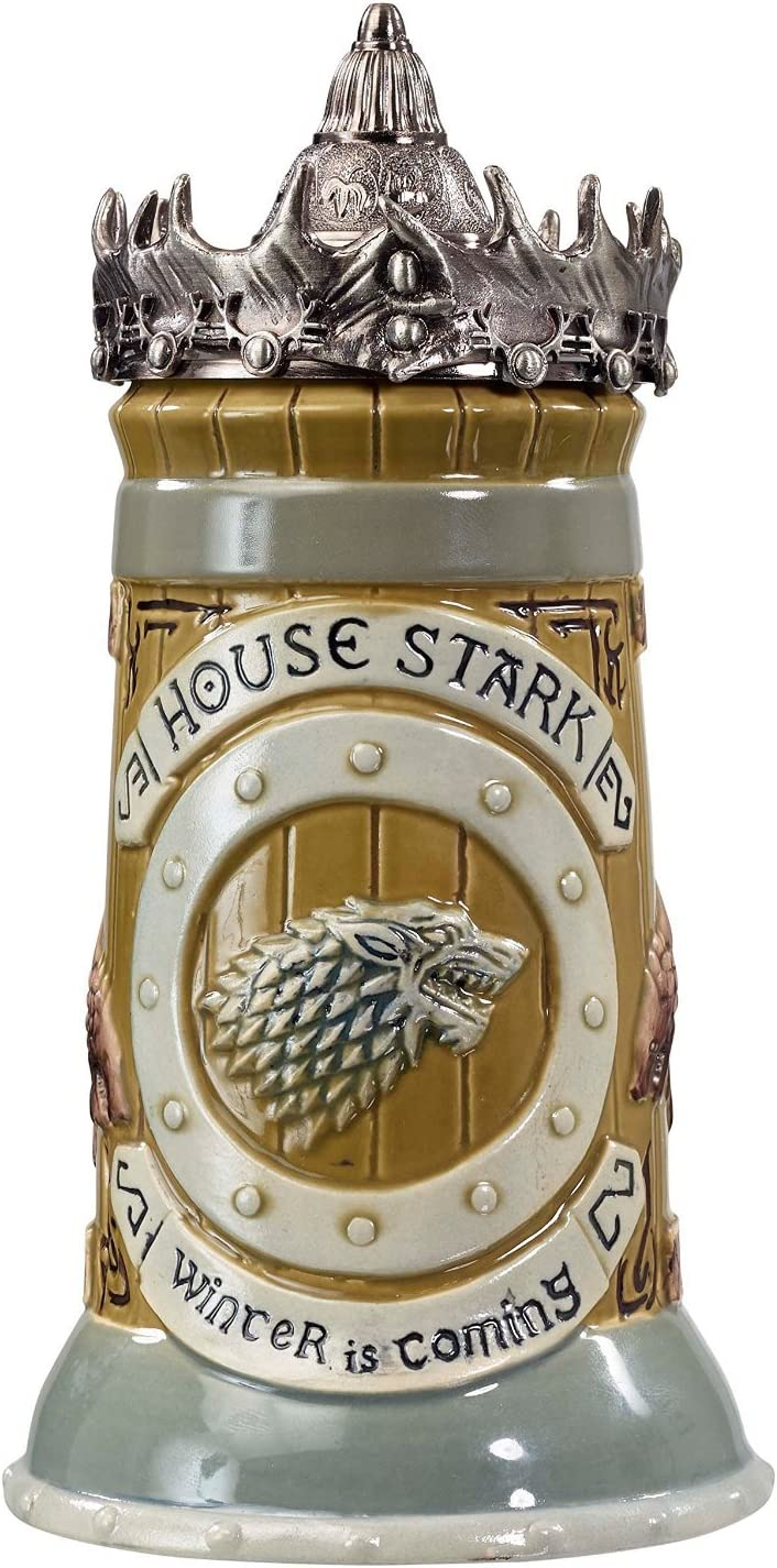 Game of Thrones House Stark Stein – 22 Oz Ceramic Base with Pewter Baratheon Crown Top (?ne ???k)