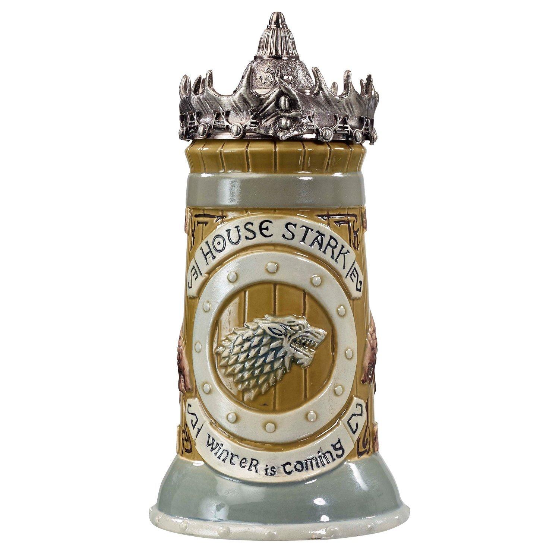 Game of Thrones House Stark Stein – 22 Oz Ceramic Base with Pewter Baratheon Crown Top Underground Toys GT01619