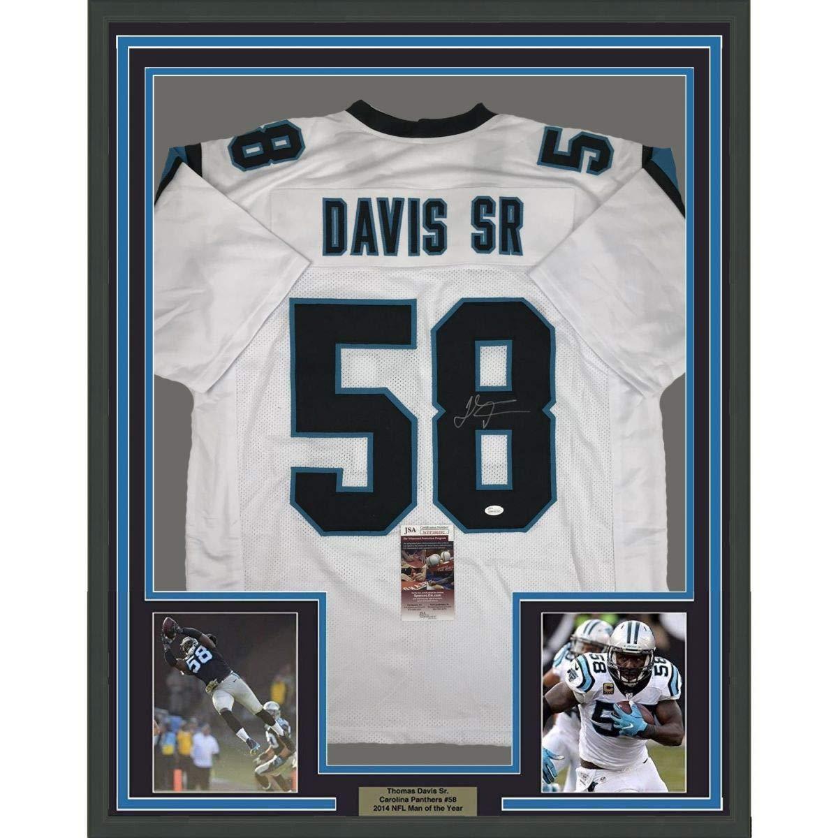 f6f8409c Framed Autographed/Signed Thomas Davis Sr. 33x42 Carolina White Football  Jersey JSA COA at Amazon's Sports Collectibles Store