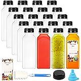 20pcs Empty PET Plastic Juice Bottles 12oz Reusable Clear Disposable Containers with Black Tamper Evident Caps Lids for…