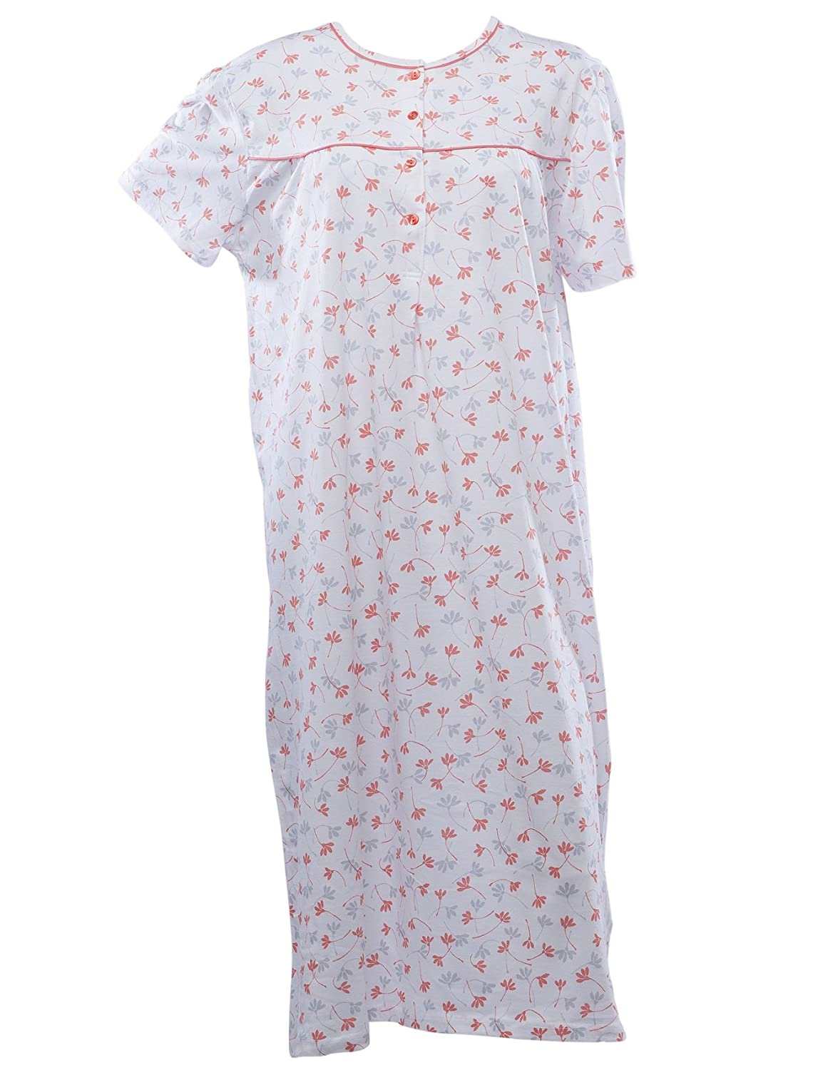 Waite Ltd Ladies Jersey Cotton Floral Nightdress Womens Short Sleeved Flower  Nightie (Blue or Orange)  Amazon.co.uk  Clothing 383024fa6