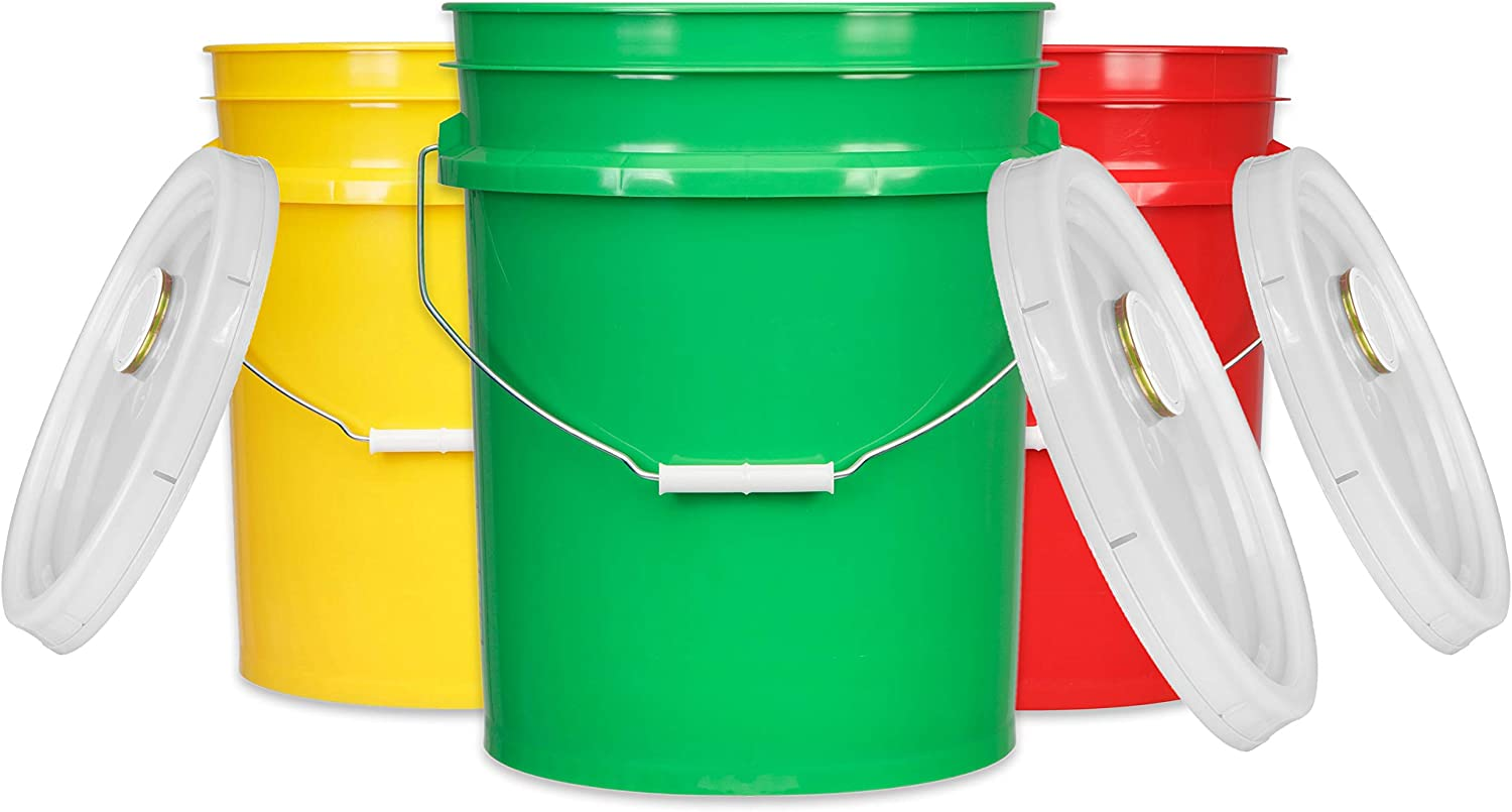 House Naturals 5 Gal Plastic Buckets Food Grade BPA Free pails with Gasket Lids - Pack of 3 - Made in USA - Yellow Green Red