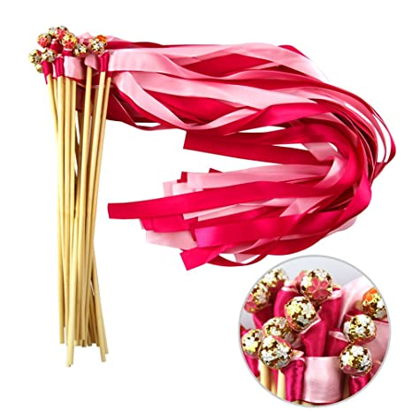 Hangnuo 30 Pack Wedding Wands Ribbon Streamers with Bell and Lace ...