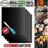 BBQ Grill Mat (5 pezzi), Tinabless FDA - Fodera Omologata per Forno Antiaderente Tappetini in Teflon - Perfetti per la Cottura su Gas, Carbone, Forno e Grill Elettrici - Fogli per Barbecue Riutilizzabili, Durevoli, Resistenti al Calore (15.75 '' x 13 '') - Bonus 1 Pennello da Barbecue BBQ