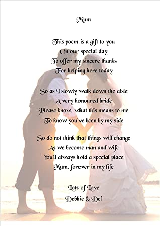 Personalised Mother Of The Bride Keepsake Poem A5 Card Or Laminated Card