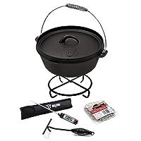 Oven Set 8 QT BBQ-Toro Holzkohlegrill Schwarz XL Gusseisen Charcoal Grill Camping Garten Picknick ✔ Deckel ✔ rund ✔ tragbar ✔ Grillen mit Holzkohle