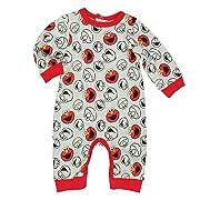 Sesame Street Elmo Baby Boys Coverall Romper (0-3 Months, Elmo Grey)
