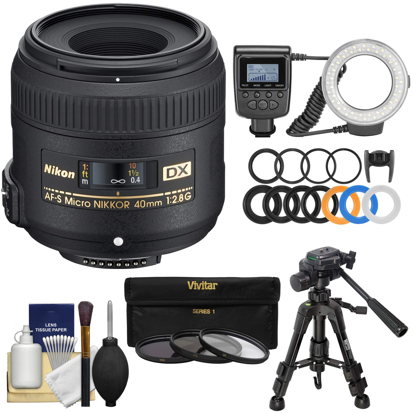 Nikon 40mm f/2.8 G DX AF-S Micro-Nikkor Lens with Ring Light + Macro Tripod + 3 UV/CPL/ND8 Filters + Kit