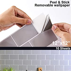 "STIQUICK TILES 12""x12"" Large Adhesive Peel and Stick Removable Wallpaper, Subway Tile with Grey Design Stickers for Kitchen Backsplash, Wall Decorative Mold Sheet (12"" X 12"" 10 Sheets, Grey)"