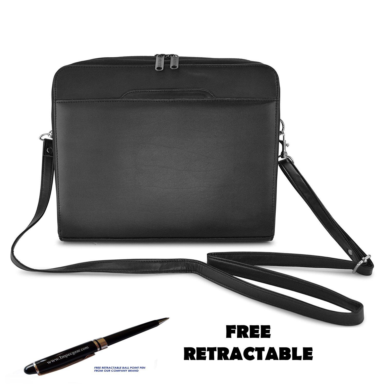 ImpecGear Briefcase Padfolio 3- Ring Binder, File Divider Organizer W/ Smart Handle Briefcase (Black)