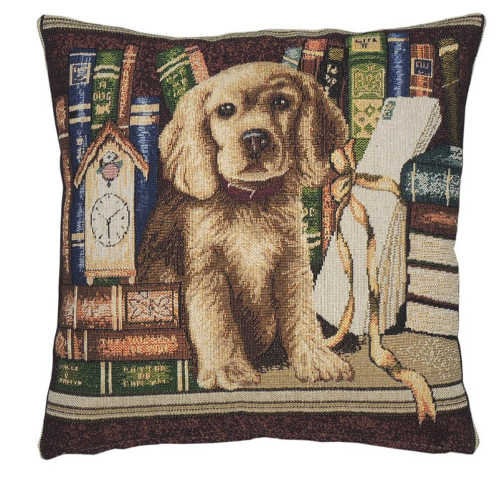 "NEW DOG TAPESTRY DESIGN CUSHION COVER UK MADE 17/""X17"