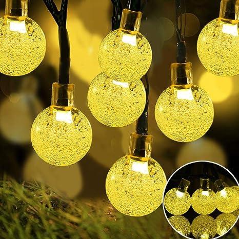 FENNGG Luces Solar Luces LED 8 Modos Impermeables Exterior Luces de Decorativas Jardín, Patio, Arboles, Boda,Amarillo,60LED/11m: Amazon.es: Deportes y aire libre