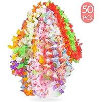 Yidaxing Ghirlanda Hawaiana Collana Tropicale Ghirlande Hawaii Hula Multicolori Fiori Ghirlande Addio al Nubilato per Vacanze Matrimoni spiagge Decorazioni di Compleanno(50 Pezzi)