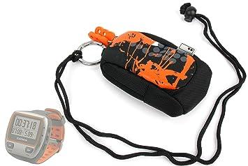 Housse étui orange / noir pour montre connectée Garmin Forerunner 310XT, 110W et 110M,